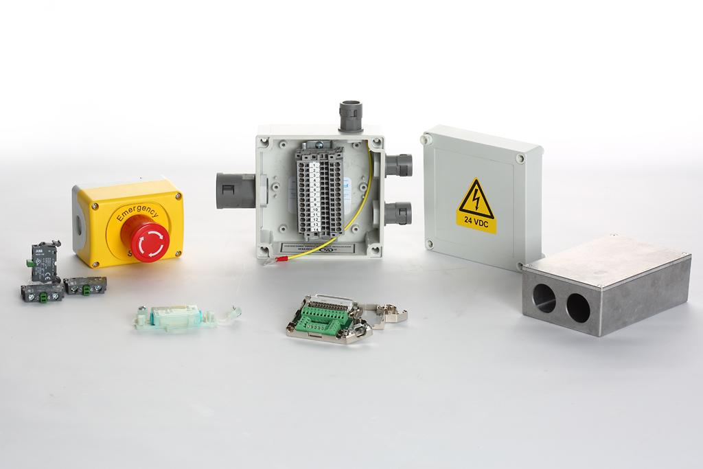 Cajas conexión, setas emergencia, bornes, conectores Subcon, contactos auxiliares, cajas terminales…